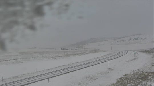 A Montana Department of Transportation camera captures conditions on U.S. Highway 89 in Monarch Canyon at around noon Sunday.