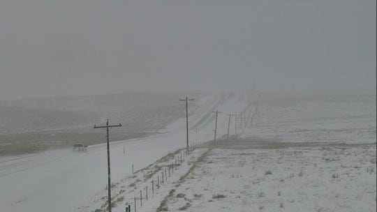 A Montana Department of Transportation camera captures conditions at about noon Sunday near Bowman's corner at the intersection of U.S Highway 287 and Montana 200.
