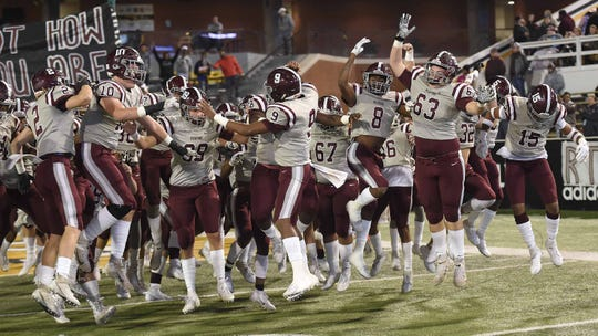 The Picayune Maroon Tide take the field for the MHSAA Class 5A State Football Championship at M.M. Roberts Stadium on the University of Southern Mississippi campus in Hattiesburg on Saturday, December 7, 2019.