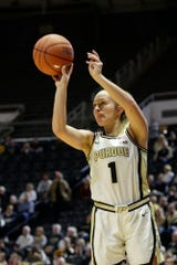 Purdue guard Karissa McLaughlin (1) shoots during the third quarter of a NCAA women's basketball game, Sunday, Dec. 8, 2019 at Mackey Arena in West Lafayette.