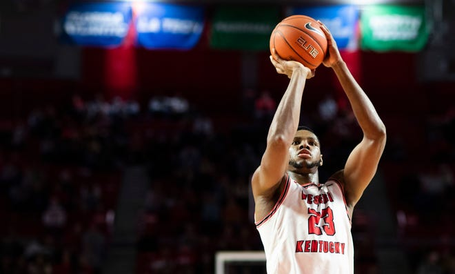 Charles Bassey puts up a shot for WKU against Austin Peay. Nov. 9, 2019