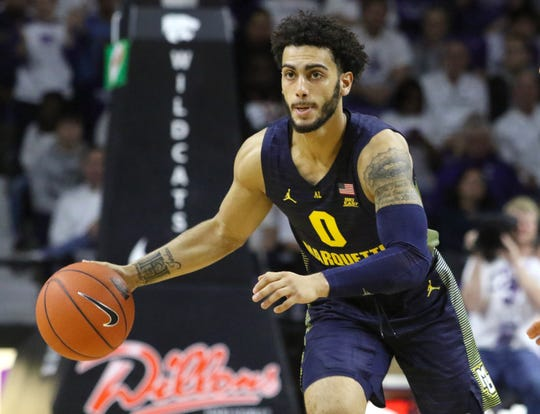 Dec 7, 2019; Manhattan, KS, USA; Marquette Golden Eagles guard Markus Howard (0) brings the ball up court during the second half of a game against the Kansas State Wildcats at Bramlage Coliseum. Mandatory Credit: Scott Sewell-USA TODAY Sports