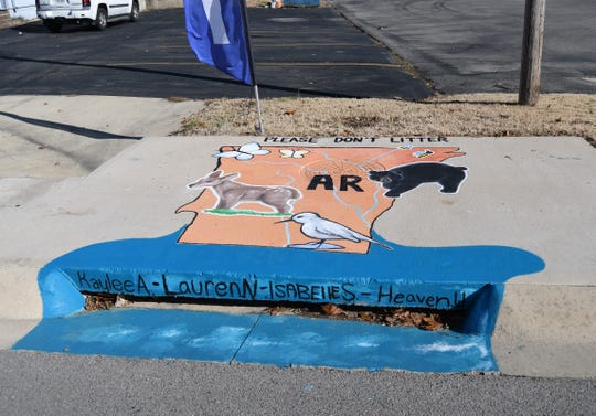 This storm drain can be found between Mitchell's Variety Discount Groceries and Baxter County Animal Clinic on Bomber Boulevard. It was designed by Mountain Home High School student Bria Digiadomenico and painted by fellow students Kaylee Anderson, Heaven Wooten, Lauren Nelson and Isabelle Schmuecker.