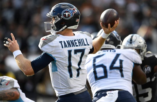 Tennessee Titans quarterback Ryan Tannehill (17) passes during the first quarter against the Raiders at Oakland-Alameda County Coliseum Sunday, Dec. 8, 2019 in Oakland , Ca.