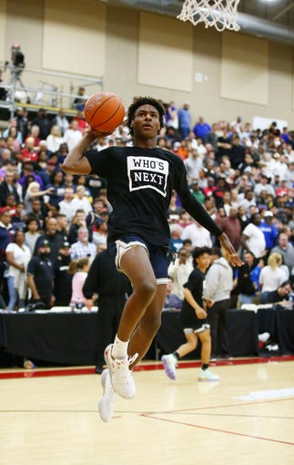 Sierra Canyon High (CA) guard Bronny James (0) warms-up before playing Millennium High (AZ) during a Hoophall West game on Dec. 7, 2019 at Chaparral High in Scottsdale, Ariz.