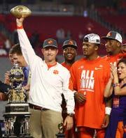 Clemson football coach Dabo Swinney celebrates after the Tigers beat Ohio State in the 2016 Fiesta Bowl. The same teams will meet in the Fiesta again Dec. 28 in a College Football Playoff semifinal.