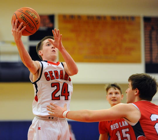 Lebanon's Luke Collins goes up for a shot in the Cedars' win over Red Land.