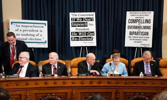 U.S. Representatives James Sensenbrenner (R-Wis),  Steve Chabot (R-Ohio), Louie Gohmert (R-Texas), Jim Jordan (R-Ohio) and Ken Buck (R-Colo.) at the House Judiciary Committee Impeachment Inquiry Hearing on Wednesday, Dec. 4, 2019 in Washington, D.C. (Michael Brochstein/Sipa USA/TNS)
