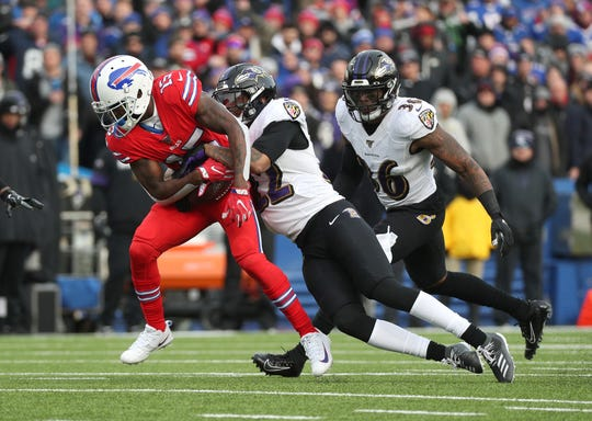 Bills receiver John Brown  is tackled by Ravens Jimmy Smith after a short gain.