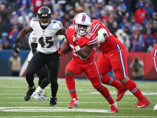 Bills running back Devin Singletary gained 89 yards on 17 carries against the Ravens.