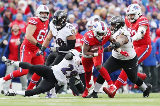 ORCHARD PARK, NEW YORK - DECEMBER 08: Devin Singletary #26 of the Buffalo Bills runs with the ball during the first half against the Baltimore Ravens in the game at New Era Field on December 08, 2019 in Orchard Park, New York. (Photo by Bryan M. Bennett/Getty Images)