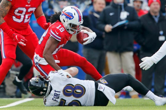 Buffalo Bills wide receiver Andre Roberts (18) is tackled by Baltimore Ravens linebacker L.J. Fort (58) during the first half of an NFL football game in Orchard Park, N.Y., Sunday, Dec. 8, 2019. (AP Photo/John Munson)