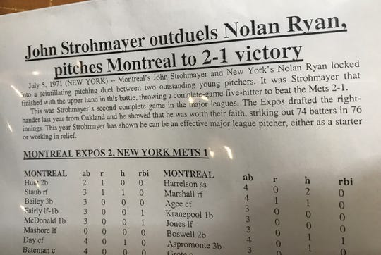An article from the Strohmayer family's scrapbook about John Strohmayer outpitching Nolan Ryan in July 1971.