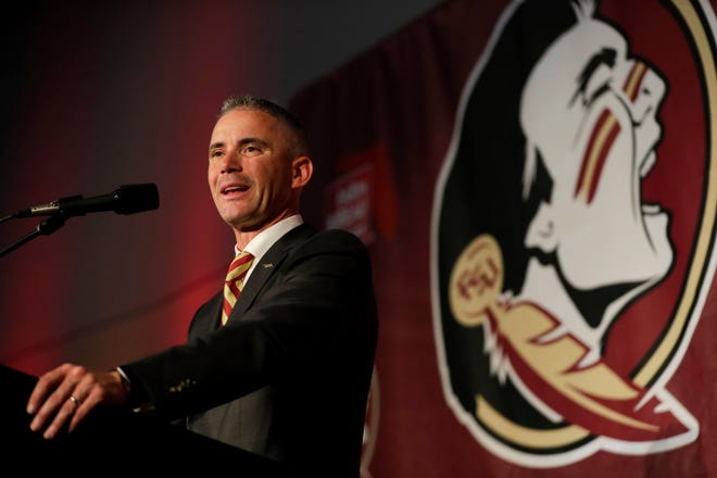 Mike Norvell gives his first public speech as Florida State University Head Football Coach at a press conference held to introduce Norvell in his new role in the Champions Club at Doak Campbell Stadium Sunday, Dec. 8, 2019.