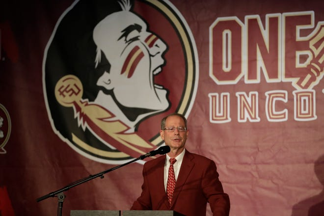 Florida State University Athletic Director David Coburn speaks at a press conference held to introduce Mike Norvell, the new head coach of Florida State Seminoles football in the Champions Club at Doak Campbell Stadium Sunday, Dec. 8, 2019. Coburn spoke at an alumni event in Pensacola on Thursday.
