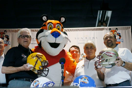 The Tony the Tiger Sun Bowl announcement Sunday, Dec. 8, at Sunland Park Racetrack and Casino in El Paso. The Sun Bowl picked the brand name from the ACC, taking 6-6 Florida State to match up with Arizona State in the New Year's Eve game.