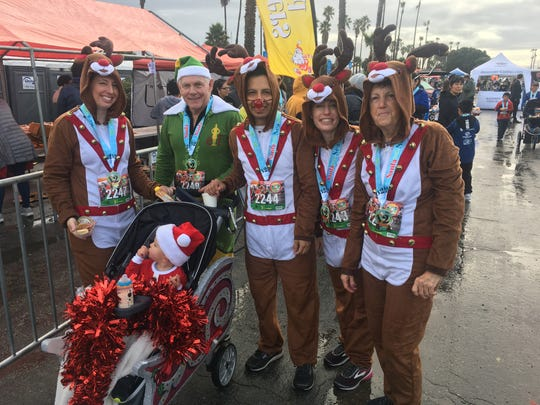 Participants in the Santa to the Sea event Sunday in Oxnard included Michelle Rebbe, Rhea Rebbe, Robert Rebbe, Shoshana Ellis, Jessie and RJ Arciniega.