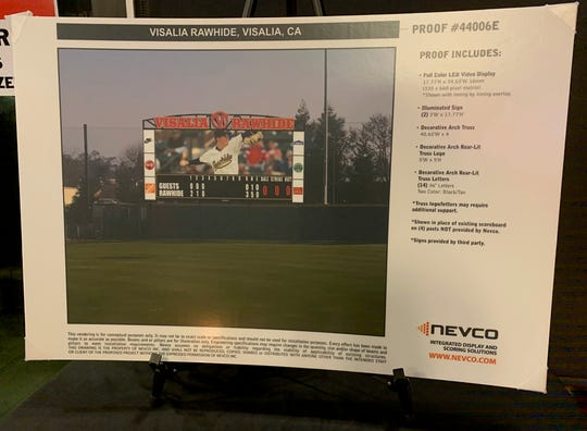 A proof of the video board for Recreational Ballpark was displayed at the Visalia Rawhide Clubhouse Saturday.