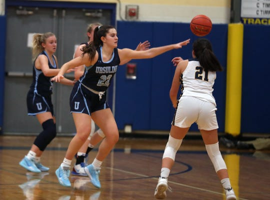 Ursuline's Sonia Citron (21) during Ursuline's 51-38 victory over  Lourdes in girls basketball action at Our Lady of Lourdes High School in Poughkeepsie Dec. 7, 2019.