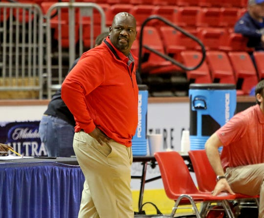 Wichita Falls High head basketball coach Jonathan Wagner on the sideline in the game against City View Saturday, Dec. 7, 2019, at Kay Yeager Coliseum.