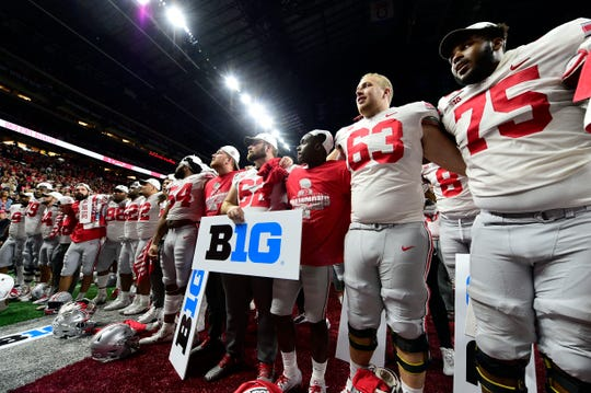 Ohio State celebrates after defeating Wisconsin in the 2019 Big Ten championship game at Lucas Oil Stadium.