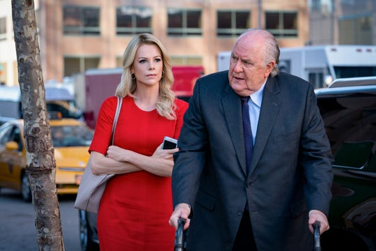 "Megyn Kelly (Charlize Theron) has to deal with her own complicated feelings for Roger Ailes (John Lithgow) in the Fox News drama ""Bombshell."""