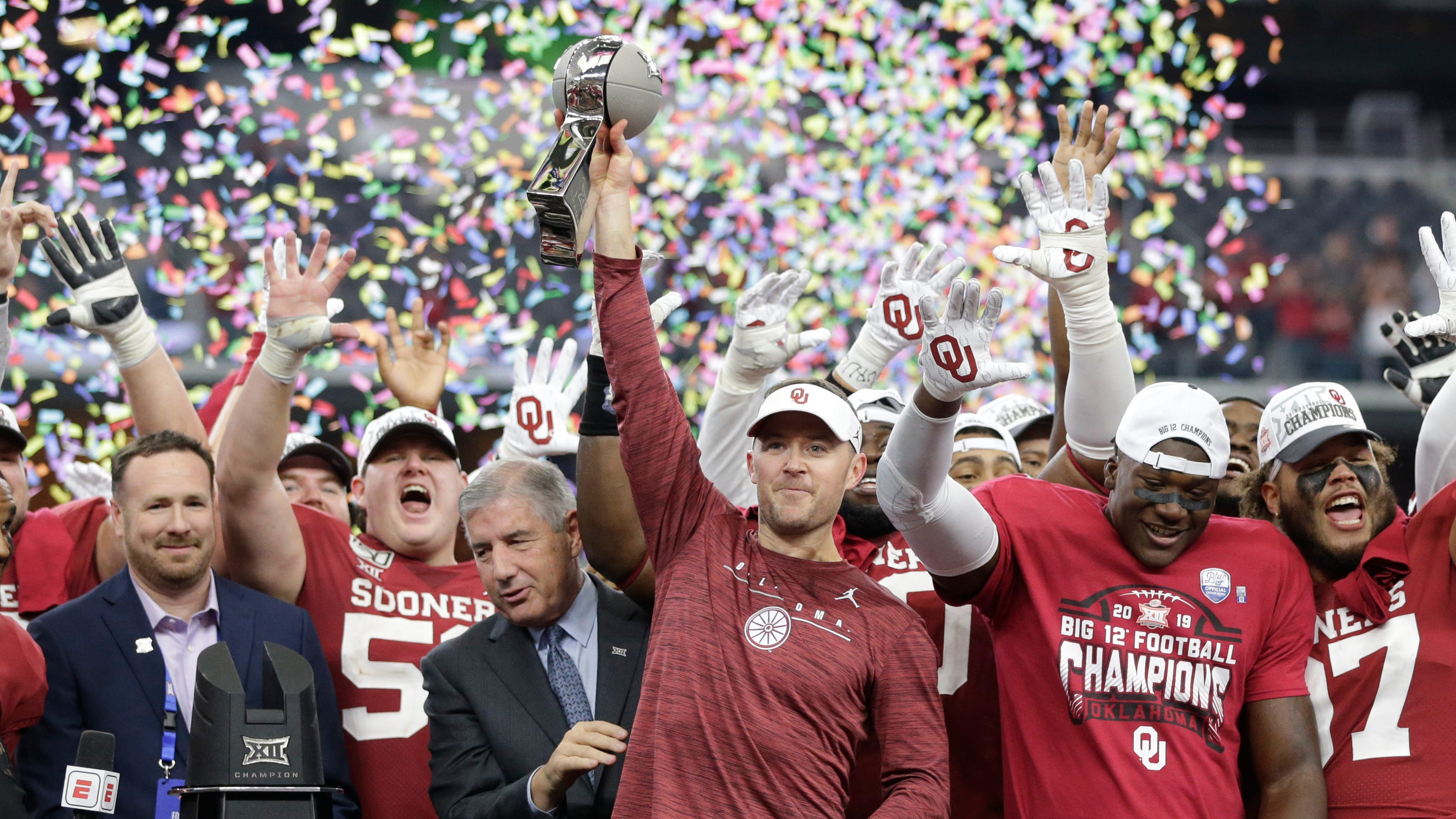 Image result for oklahoma wins big 12 title game