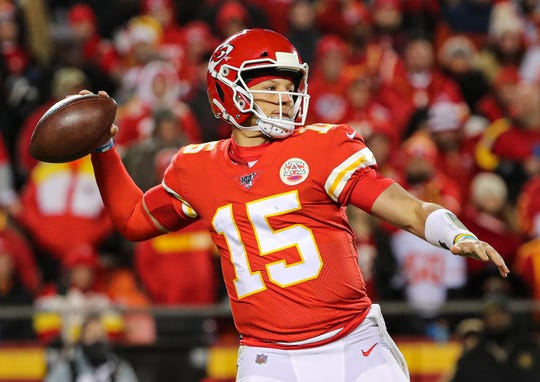 Kansas City Chiefs quarterback Patrick Mahomes (15) throws a pass against the Oakland Raiders during the second half at Arrowhead Stadium last weekend.