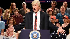 "Alec Baldwin as President Donald Trump during a ""Trump Phoenix Rally."""