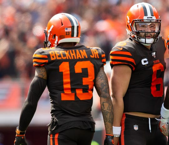 In his first season with the Browns, wide receiver Odell Beckham, left, has been plagued by injuries and only caught two touchdown passes from QB Baker Mayfield.