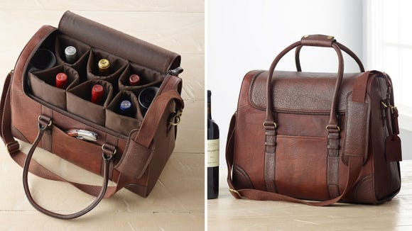 Best gifts for wine lovers 2019: Wine Enthusiast 6-Bottle Leather Weekender Bag