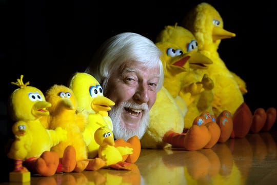 """Caroll  Spinney, who plays Big Bird and Oscar the Grouch, is photographed at his Woodstock, Ct home in 2002. Spinney, who gave Big Bird his warmth and Oscar the Grouch his growl for nearly 50 years on """"Sesame Street,"""" died Sunday, Dec. 8, 2019 at his home in Connecticut, according to the Sesame Workshop. He was 85."""