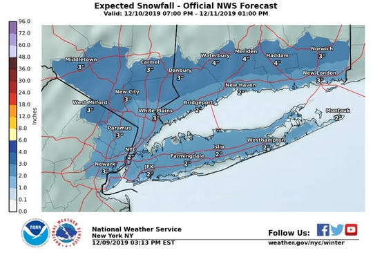 Snow is expected to dampen commutes in northeastern New Jersey and New York on Wednesday morning.