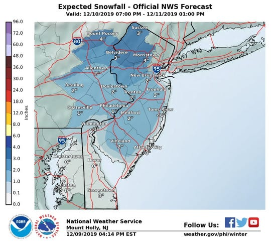 Up to 3 inches of snow is possible in norther New Jersey by Wednesday.