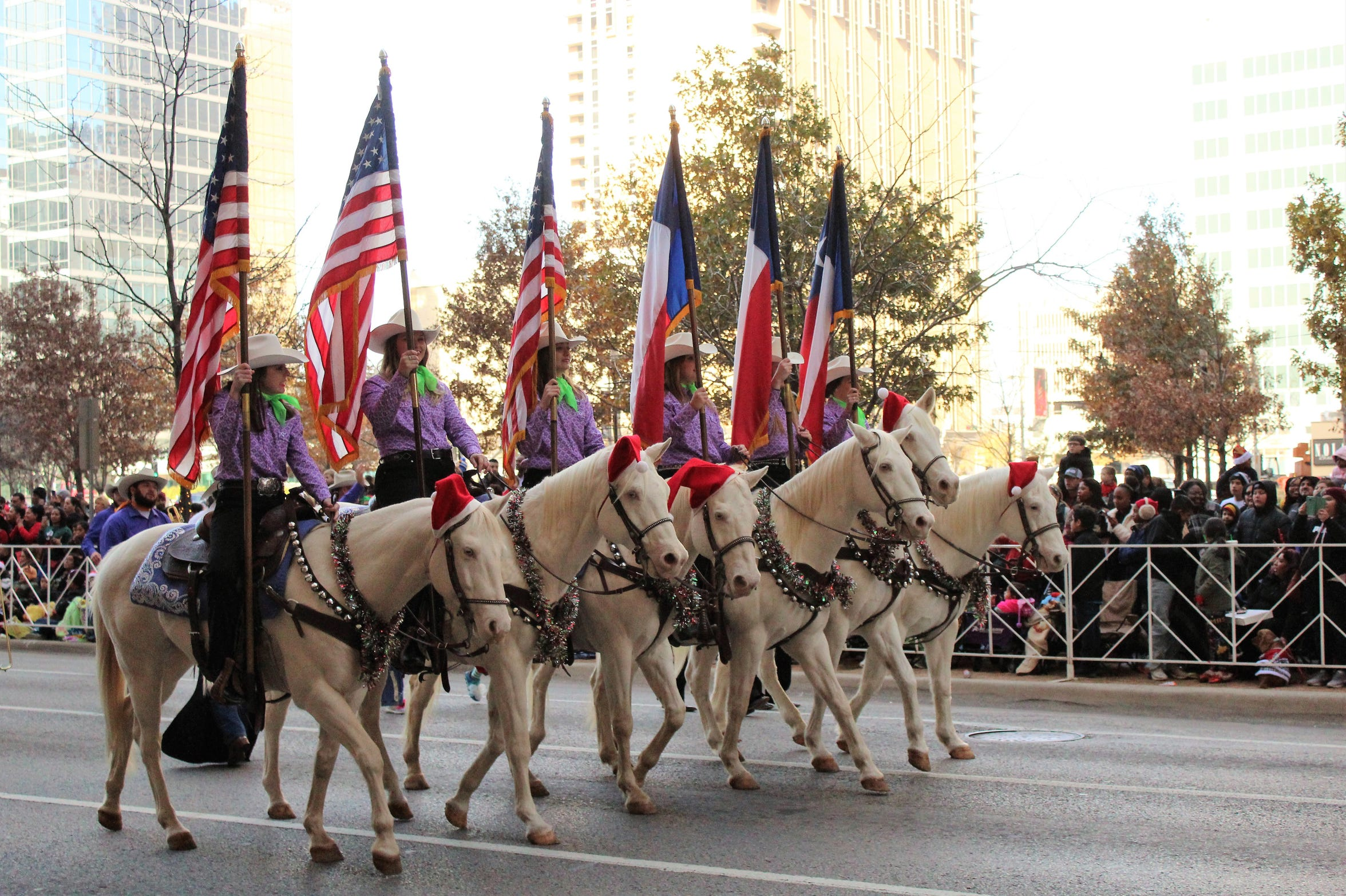 "Hardin-Simmons University's Six White Horses clopped through downtown Dallas last weekend as part of the city's holiday parade. They preceded the Cowboy Band. The horses will be in downtown Abilene on Sunday evening for the Afterglow party following the performance of ""Messiah"" at the Paramount Theatre."