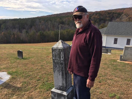 Ronnie Clements, who was born in Rutherford County but lives in Belmont, at the Camp Creek Baptist Church cemetery where many of his ancestors are buried.