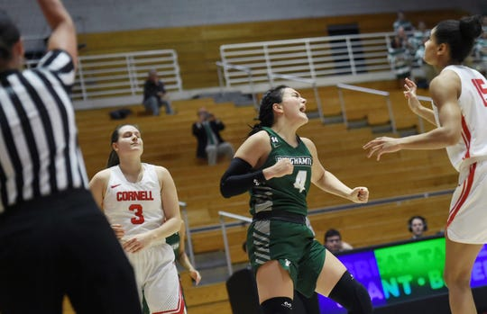 Binghamton High graduate Annie Ramil, seen here reacting to a play against Cornell in December, is leaving Binghamton University's program. She said she'll likely attend Samford University in Alabama for her final two years.