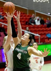 Annie Ramil (4), Binghamton Bearcats sophomore guard, during a recent game against Cornell in Ithaca. Ramil, along with her sister Olivia, is a graduate of Binghamton High School. December 5, 2019.