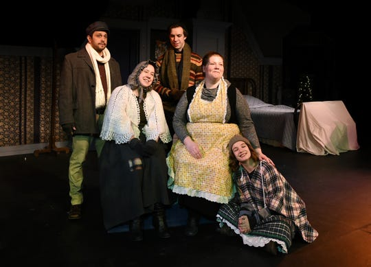 "From left: Adam Holley, Jana Kucera, Gabe Pinciotti, Jessica Pullis and Christine Skorupa star in ""A Christmas Carol"" at the Cider Mill Stage in Endicott."