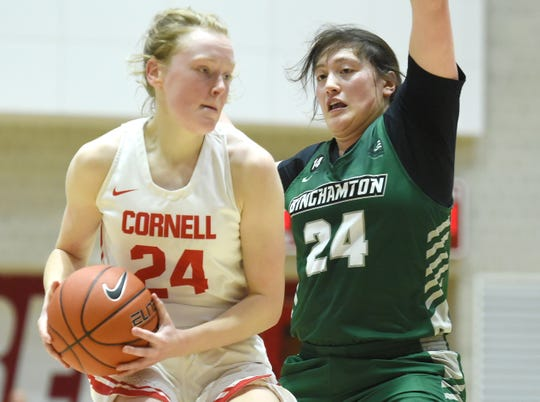 Olivia Ramil (24), right, during Cornell Big Red vs. Binghamton Bearcats womenÕs basketball at Newman Arena, Cornell University. Ramil is a graduate of Binghamton High School. Thursday, December 5, 2019.