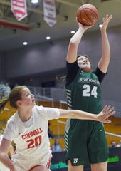 Olivia Ramil (24) looks to score during Cornell Big Red vs. Binghamton Bearcats womenÕs basketball at Newman Arena, Cornell University. Ramil is a graduate of Binghamton High School. Thursday, December 5, 2019.