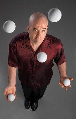 Greg Bennick jokes, juggles and hosts the Sounds of the Season talent competition at the Admiral Theatre.