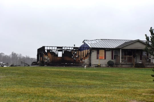 A house in the 4800 block of County Road 57 just south of Galion was severely damaged by a fire Saturday evening.