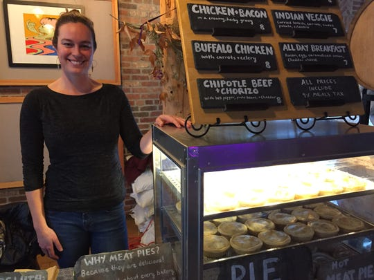 Stephanie Choate of Fairfax at her Pie Empire cart at Foam Brewers in Burlington on Dec. 6, 2019.