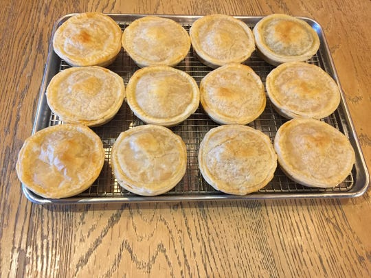 A tray of savory hand-held pies by Pie Empire at Foam Brewers in Burlington on Dec. 6, 2019.