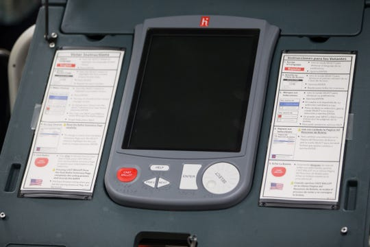 Voting machines in Nueces County.