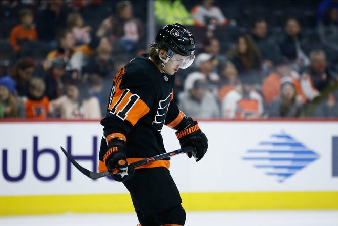 Travis Konecny, the Flyers' leading scorer, left Saturday's game in the first period and did not return.