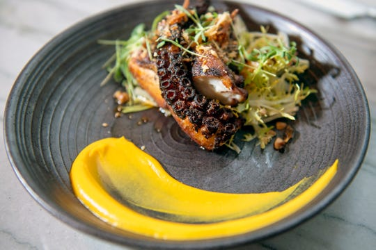 Grilled octopus with butternut squash, palapa and hazelnuts from Hearthside in Collingswood.
