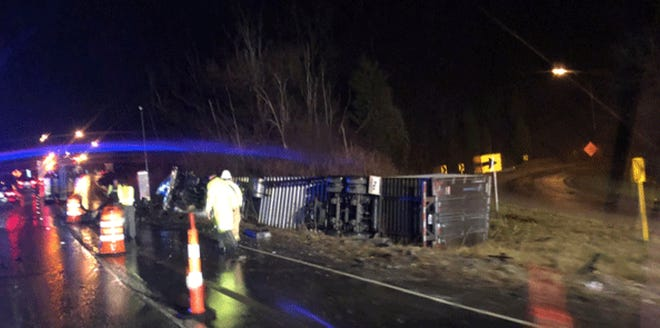 Northbound Interstate 71 is down to Stewart Road due to an overturned semi tractor-trailer.