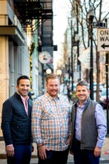 Thunderdome Restaurant Group co-founders/owners John Lanni, Alex Blust and Joe Lanni pose for a portrait on Vine Street in Over-the-Rhine.